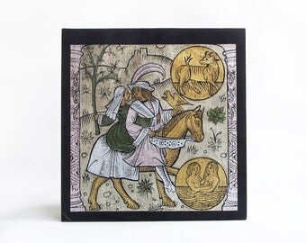 vintage brass rubbing reinsassance falconer zodiac wall art