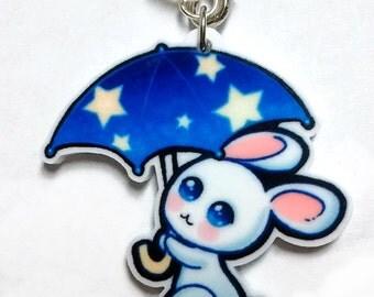 Rainy Bunny Acrylic Charm