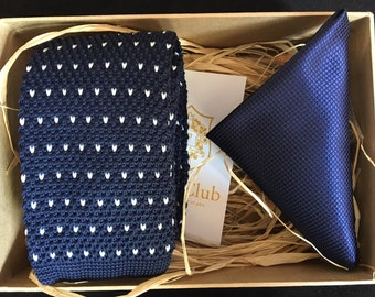 Knitted Navy NeckTie with Plain Navy Pocket Square