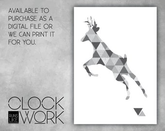 Wall Art, Prints, Home Decor, Inspirational Quotes, Nursery Prints, Printed or Digital File Available, Geometric Deer