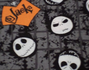 Nightmare Before Christmas Fabric/ Jack Skellington Head/ Jacks Name/Cotton fabric/ Sold by the yard