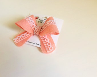 "Blush pink with lace ""Helen"" bow - medium - headband - alligator clip"