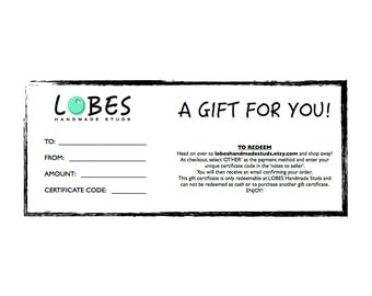 GIFT CERTIFICATE to LOBES Handmade Studs