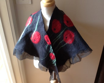 Nuno felted shawl collar scarf