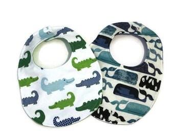 Whale and Alligator Baby Bibs; Gender Neutral Baby Bib; Animal Baby Bib