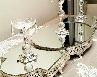 3-piece stand tray with mirror