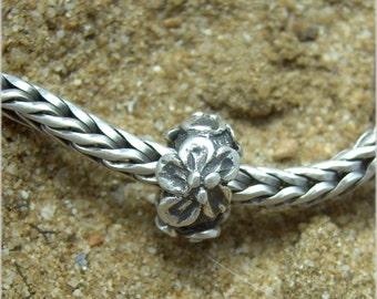Cherry or Apple Blossom Flower Stopper European Bead 999 fine silver