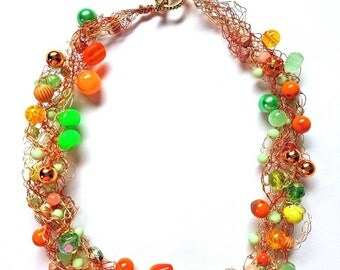 Lime green and orange beaded crocheted necklace,