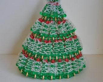 Handmade, Vintage, Safety Pin, Christmas Tree.