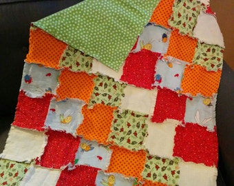 Dinosaurs and Bugs Rag Quilt, Baby Blanket, Baby Quilt, Baby Rag Quilt