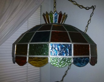 Multi Colored Leaded Glass Swag Lamp