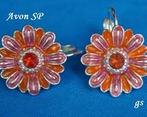 Vintage Avon Earrings, Pink Daisy Earrings, Lever Back Earrings, Pink Earrings, Flower Earrings, Pierced Earrings, Avon Jewelry GS325