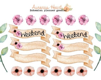 Weekend banner peach soft watercolor planner stickers boho