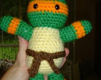 Teenage Mutant Ninja Turtle Inspired Orange Mask Amigurumi Stuffed Animal