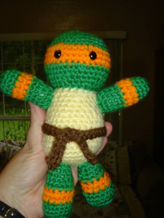 Amigurumi Ninja Turtle : Teenage Mutant Ninja Turtle Inspired Orange Mask Amigurumi