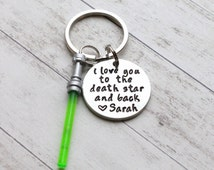 """I Love You to the Death Star and Back Hand Stamped 1"""" Aluminum Keychain, Star Wars Keychain, Force, Lightsaber Keychain Husband Wedding Gift"""