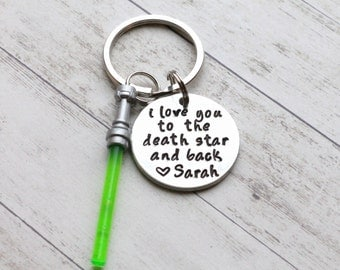 "I Love You to the Death Star and Back Hand Stamped 1"" Aluminum Keychain, Star Wars Keychain, Force, Lightsaber Keychain Husband Wedding Gift"