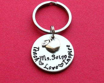 Teach Love Inspire hand stamped keychain with apple charm, Personalized teacher keychain teacher gift, teacher appreciation day