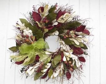 Large Twig Wreath, Exlarge Twig Wreath, Dried floral Wreath, Burgundy and Green Wreath, Twig Wreath, Twig wreath with Dried Flowers, Burlap