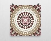 Nature Inspired Mandala Poster. Bohemian Art Print. Pink and Brown Medallion Wall Decor. Visionary Art