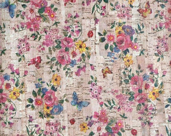100x140cm Cork leather, Portuguese cork,Printed pattern small flowers