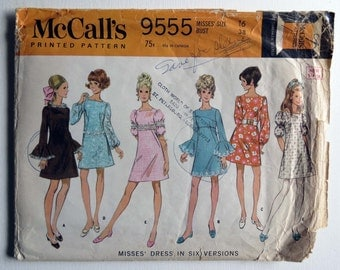 Vintage 1960's McCall's Square Neck Mini-Dress with Sleeve Variations Pattern 9555 Size 16. Free Shipping!