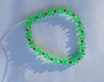 Green and Antiqued Silver Bracelet