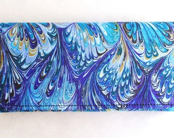 New Feather blue cotton fabric wallet, clutch, trifold handmade