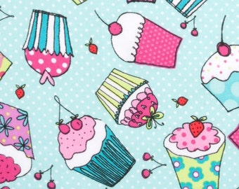 Cupcake with cherry fabric, sweet treat fabric, aqua blue fabric, food fabric, novelty fabric, cake fabric
