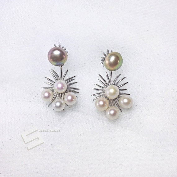 Akoya Quaity Cluster Real Pearl Earrings Delicate