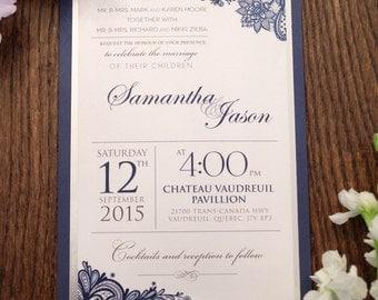 Navy wedding invitation, Navy Invitation, Lace wedding Invitation, Lace invitation, Blue wedding invitation, blue invitation, modern invite