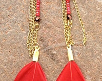 Earrings - bright red feathers - gold metal