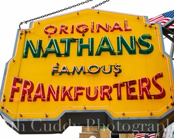 Nathan's Famous Frankfurters Sign, Hot Dog Eating Contest, Coney Island, Brooklyn Photography, New York, NYC, Americana Photo, Home Decor