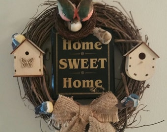 Home Sweet Home Bird Wreath