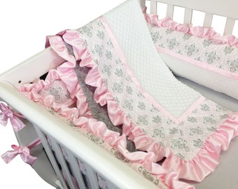 Marcy Crib Set with Bumpers- 4 Piece Set- Pink Gray Damask