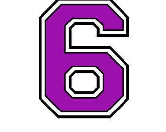 Iron on purple number #6 for Tshirt  transfer INSTANT DOWNLOAD