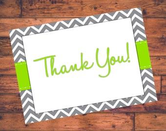 "Printable  ""Thank You"" Cards - Green w/ Gray Chevron - DIGITAL FILE"