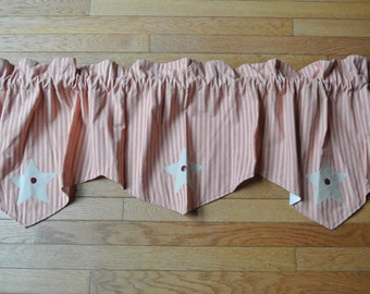 Burgundy and Tan Primitive Striped Valance w/ Barn Stars and Button Detailing