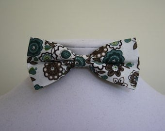white bow tie with flower pattern for men
