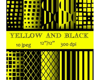 Yellow and black Digital Paper stripes scrapbooking grid background circles Instant download 3D pattern Personal and Commercial Use