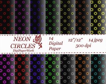Neon Dots Digital Paper dark pattern neon circle printable black paper scrapbooking Instant download