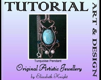 Turquoise Pendant Wire Wrapping Step-by Step-Tutorial Instant Download