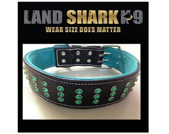 Black Leather Dog Collar with Green Suede Inner Lining & Green Crystals