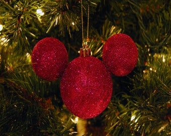 Set of (4) Mickey Shaped Ornaments-Choose your Color