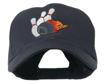 Bowling Ball and Pins Embroidered Cap