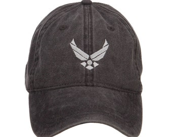 US Air Force Silver Logo Embroidered Washed Cap