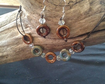 glass and ceramic beaded leather necklace with matching earings