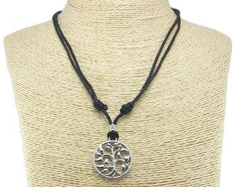 Metal Tree of Life Pendant on Adjustable Black Cord Necklace