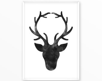 Antler Print, deer, dear, stag, printable, digital, Typography, Poster, Vintage, Grunge, Inspirational Home Decor, Screenprint, wall art