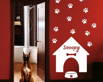 Dog house wall decal, Personalized Dog house Wall Decal, Dog Name Decal, Dog Name Decal, Wall vinyl, Home decor, personalized dog 151